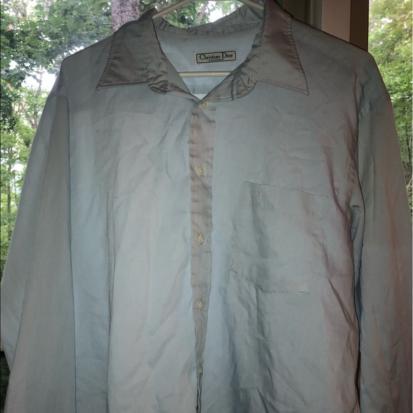 Dior Tops - CHRISTIAN DIOR BABY BLUE FLANNEL BUTTON UP